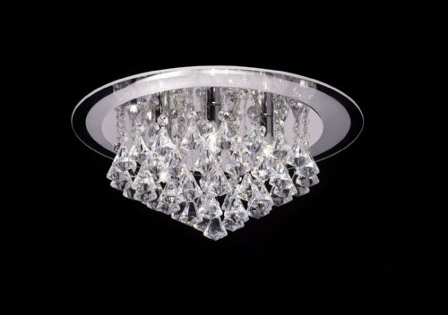 Clear crystal (k9) drops & chrome effect plate Flush Light RENNER-6CH by Endon